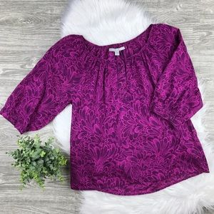 Old Navy 3/4 sleeve purple floral top
